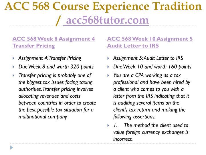 ACC 568 Course