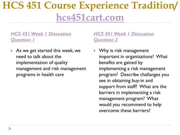 Hcs 451 course experience tradition hcs451cart com2