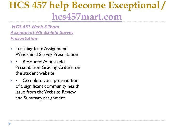 HCS 457 help Become Exceptional