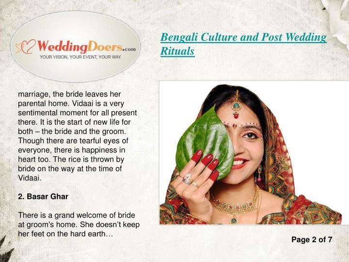Bengali Culture and Post Wedding Rituals