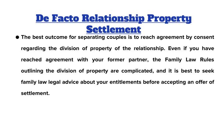 De Facto Relationship Property Settlement