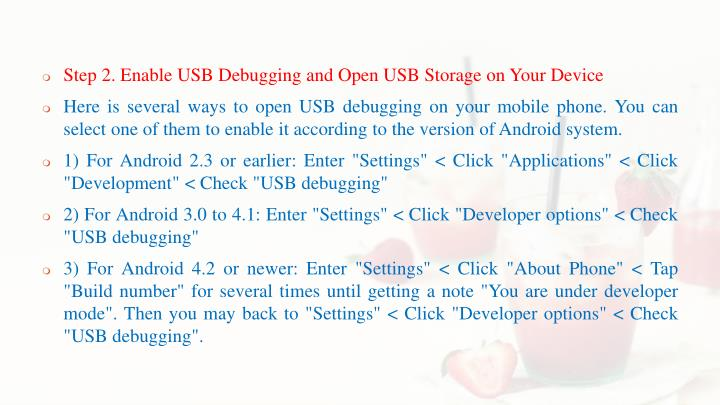 Step 2. Enable USB Debugging and Open USB Storage on Your Device