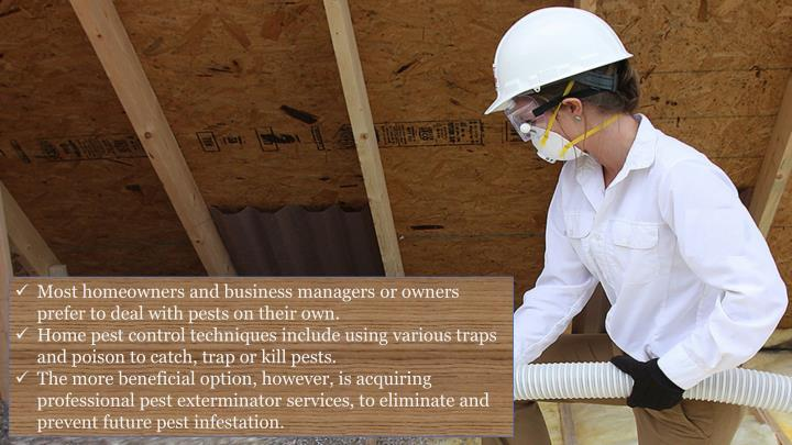 Most homeowners and business managers or owners prefer to deal with pests on their