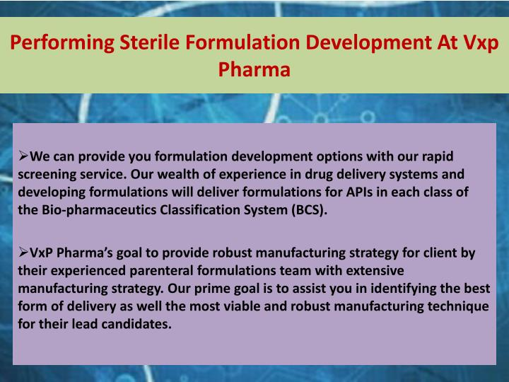 Performing Sterile Formulation Development