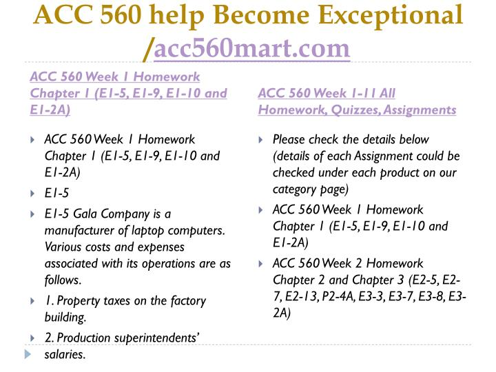 acc 560 week 9 assignment Acc 560 week 1 homework chapter 1 (e1-5, e1-9, e1-10 and e1-2a) for more classes visit wwwacc560helpcom acc 560 week 9 assignment.