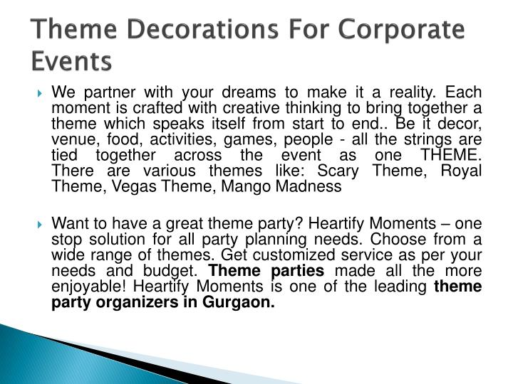 Theme decorations for corporate events