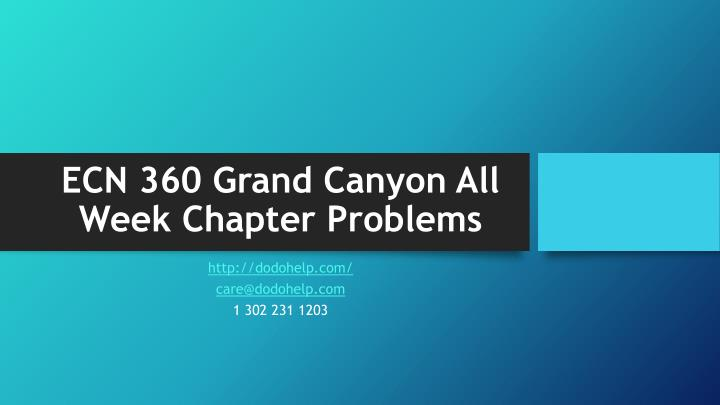 ecn 360 grand canyon all week chapter problems n.