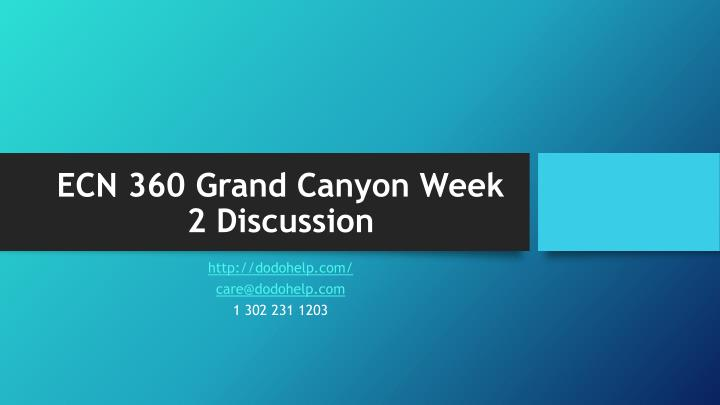 ecn 360 grand canyon week 2 discussion