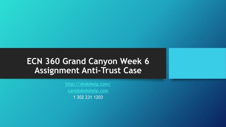Ecn 360 grand canyon week 6 assignment anti trust case