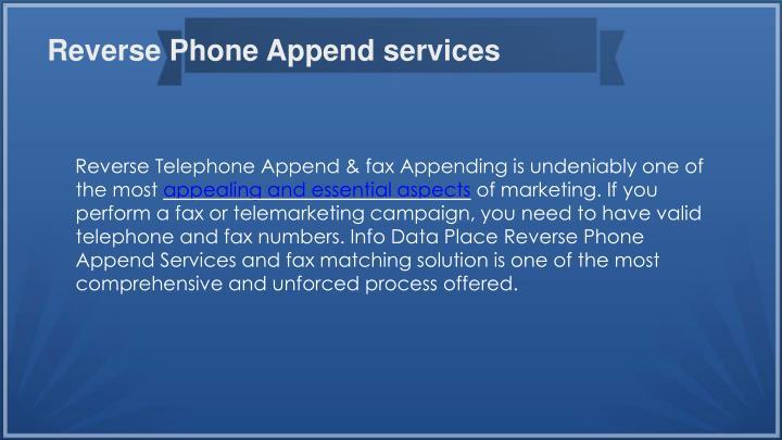 Reverse Phone Append services