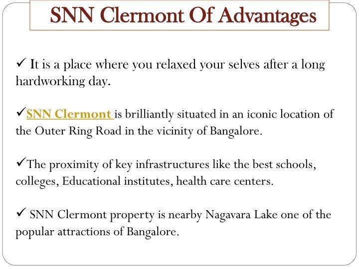 SNN Clermont Of Advantages