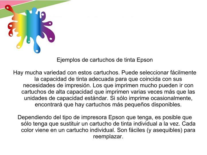 Ejemplos de cartuchos de tinta Epson