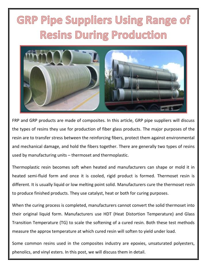 PPT - GRP Pipe Suppliers Using Range of Resins During Production