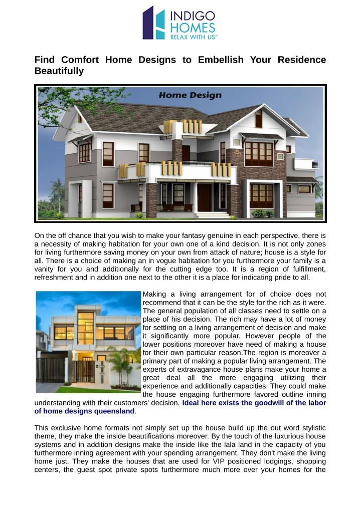 Find Comfort Home Designs to Embellish Your Residence