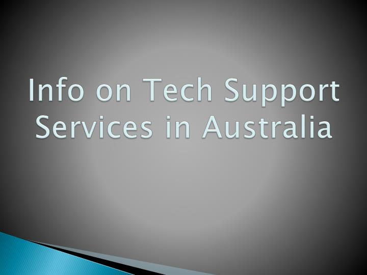 Info on Tech Support Services in Australia