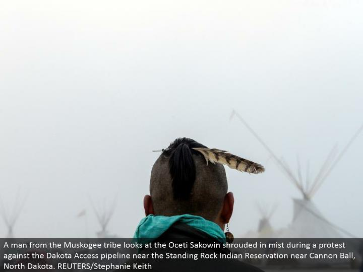 A man from the Muskogee tribe takes a gander at the Oceti Sakowin covered in fog amid a dissent agai...