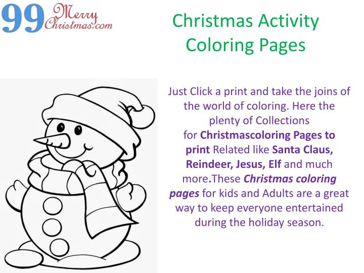 christmas activity coloring pages n.