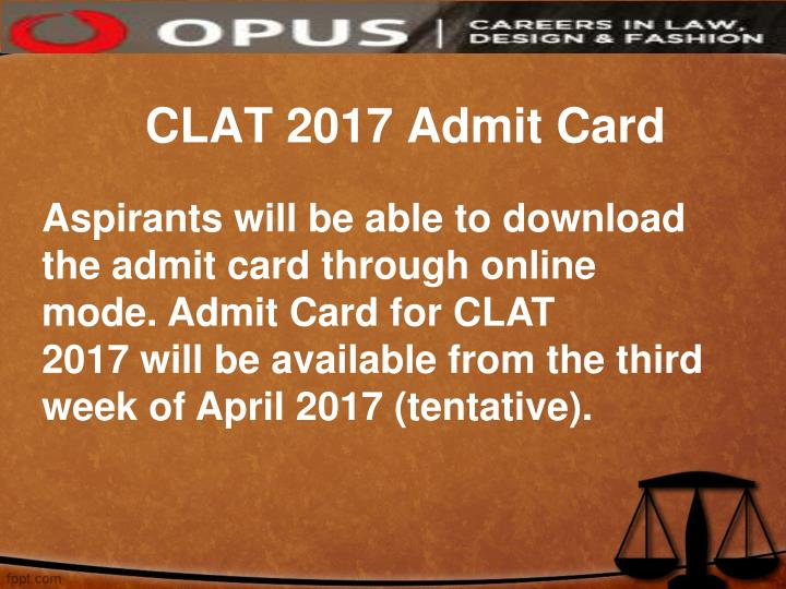 CLAT 2017 Admit Card