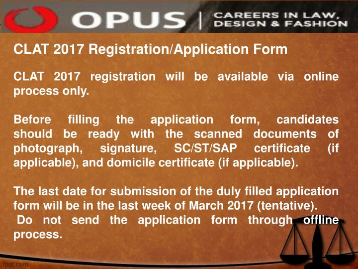 CLAT 2017 Registration/Application Form