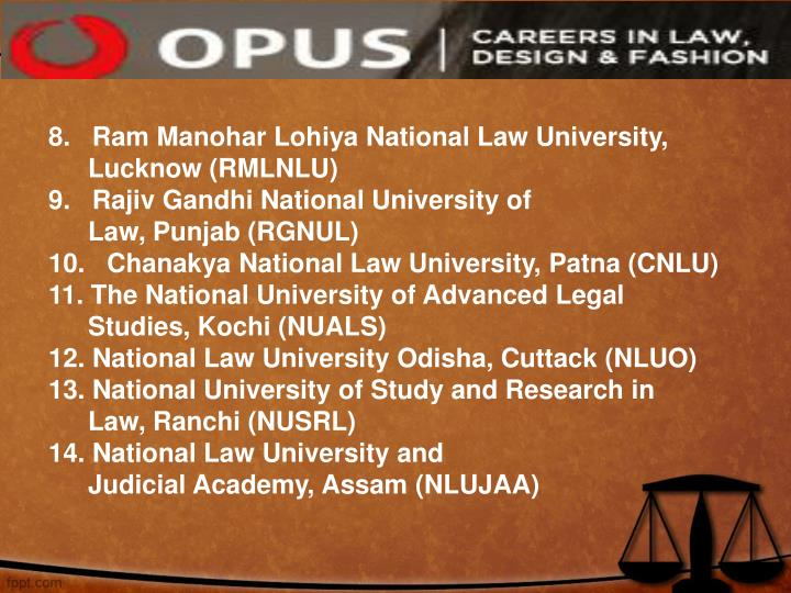 8.   Ram Manohar Lohiya National Law University, Lucknow (RMLNLU)