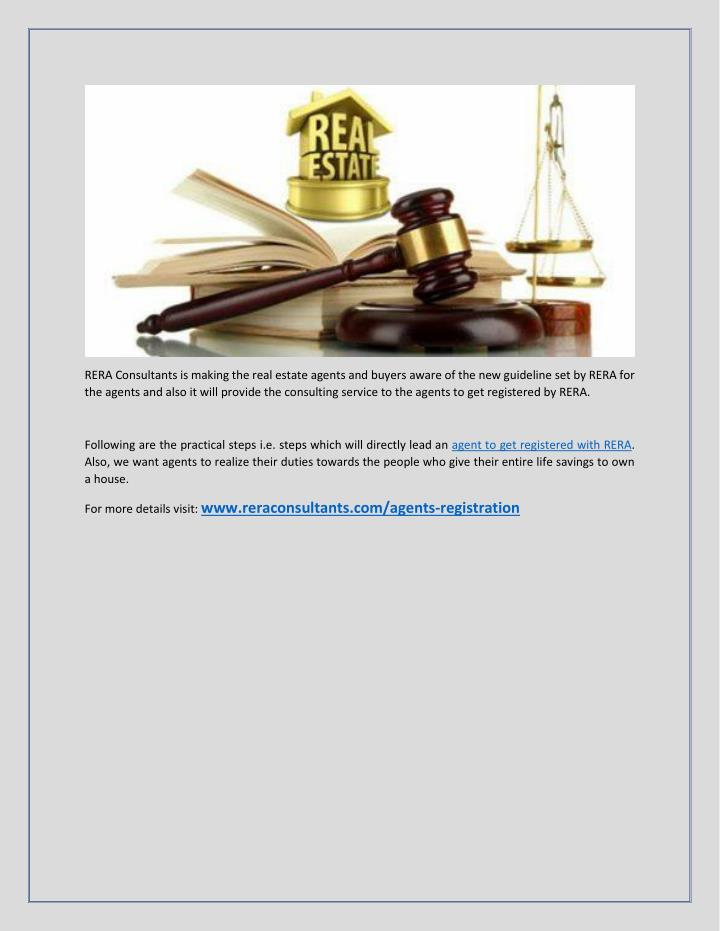 RERA Consultants is making the real estate agents and buyers aware of the new guideline set by RERA ...