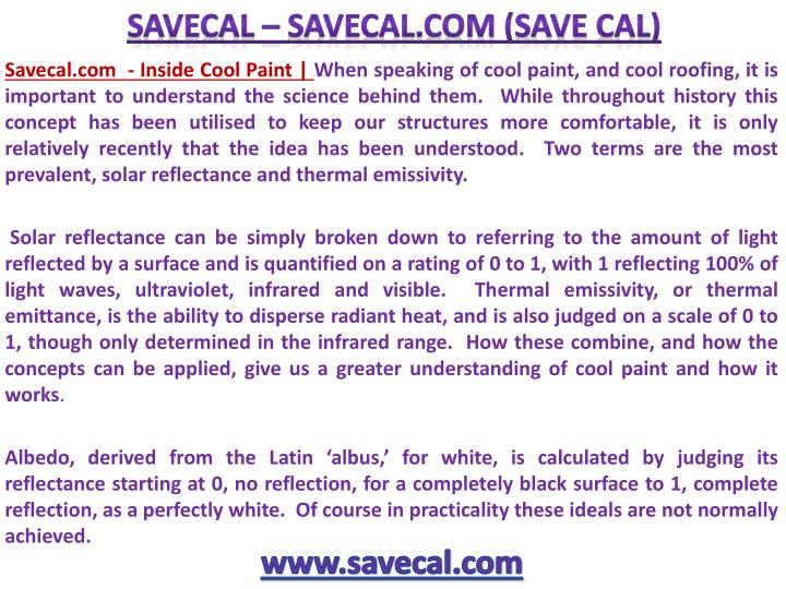 Savecal.com  - Inside Cool Paint | When speaking of cool paint, and cool roofing, it is