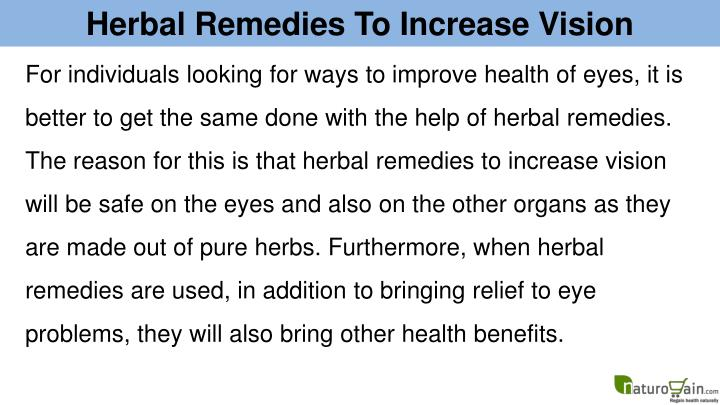 Herbal Remedies To Increase Vision
