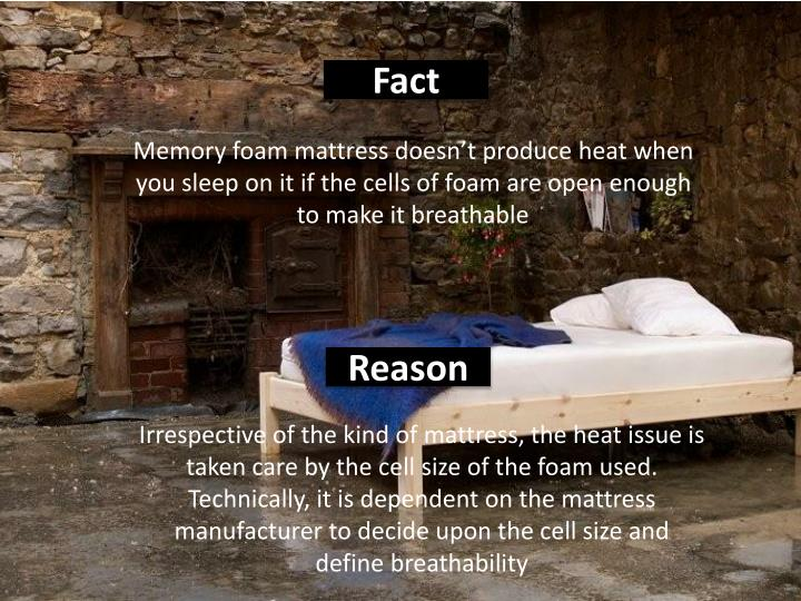 Memory foam mattress doesn't produce heat when you sleep on it if the cells of foam are open enough to make it breathable