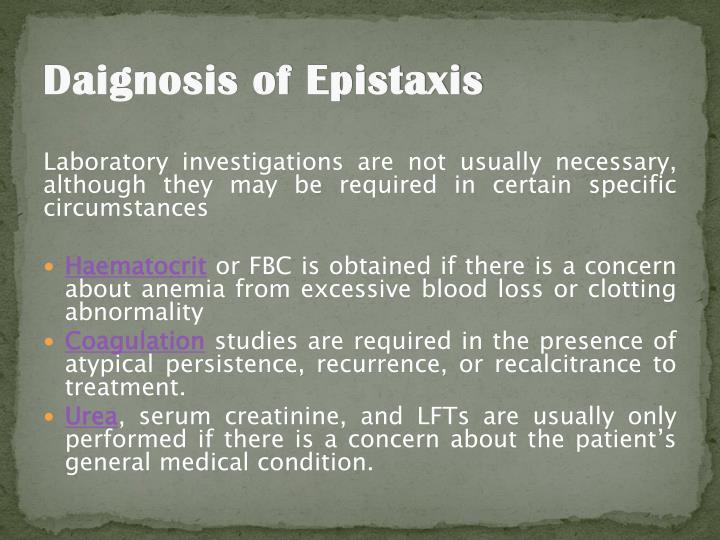 Daignosis of Epistaxis