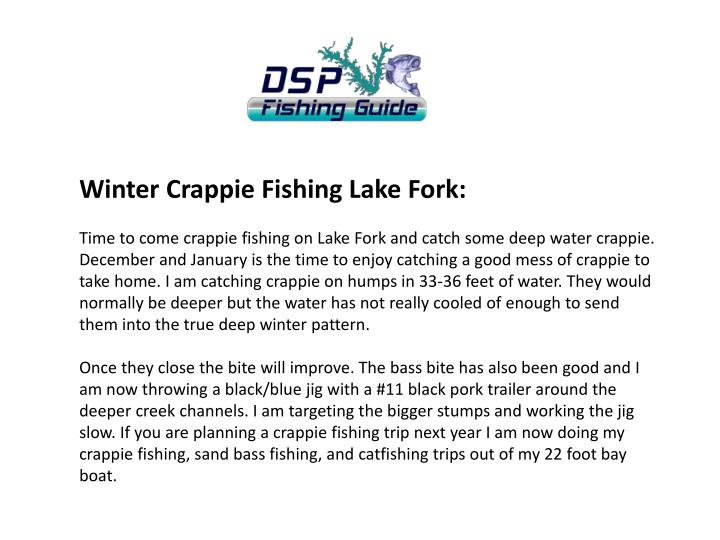 Winter Crappie Fishing Lake Fork: