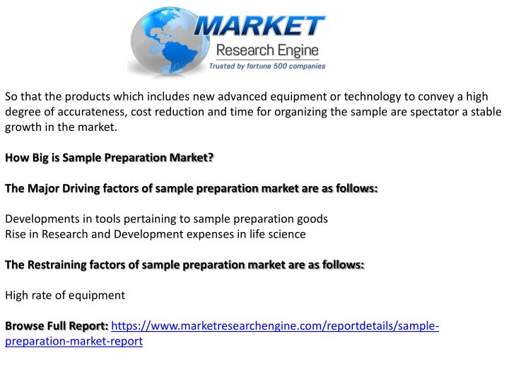 So that the products which includes new advanced equipment or technology to convey a high degree of accurateness, cost reduction and time for organizing the sample are spectator a stable growth in the market.