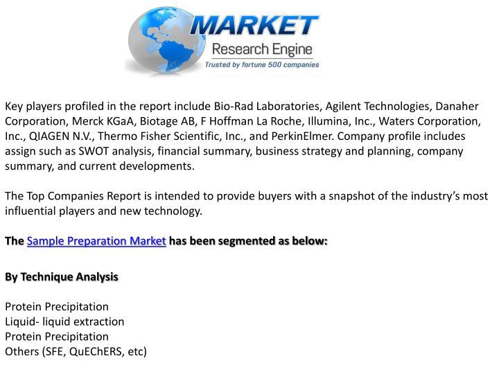 Key players profiled in the report include Bio-Rad Laboratories, Agilent Technologies, Danaher Corporation, Merck