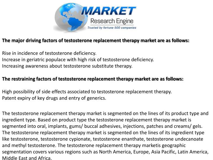 The major driving factors of testosterone replacement therapy market are as follows: