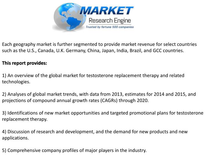 Each geography market is further segmented to provide market revenue for select countries such as the U.S., Canada, U.K. Germany, China, Japan, India, Brazil, and GCC countries.