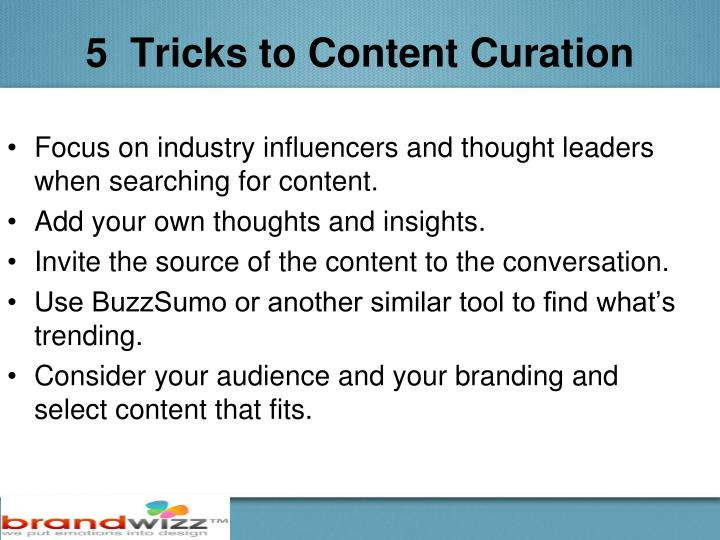 5  Tricks to Content Curation