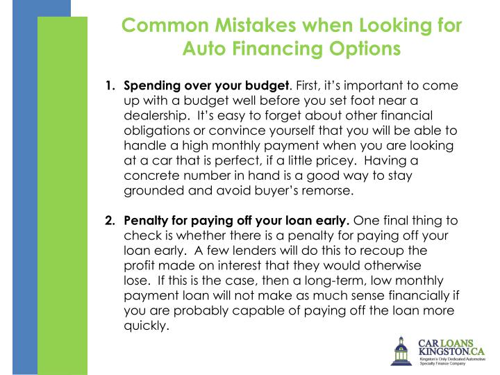 Common Mistakes when Looking for Auto Financing Options