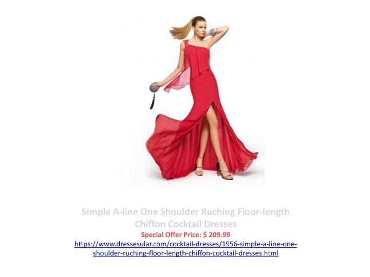 Simple A-line One Shoulder Ruching Floor-length Chiffon Cocktail Dresses