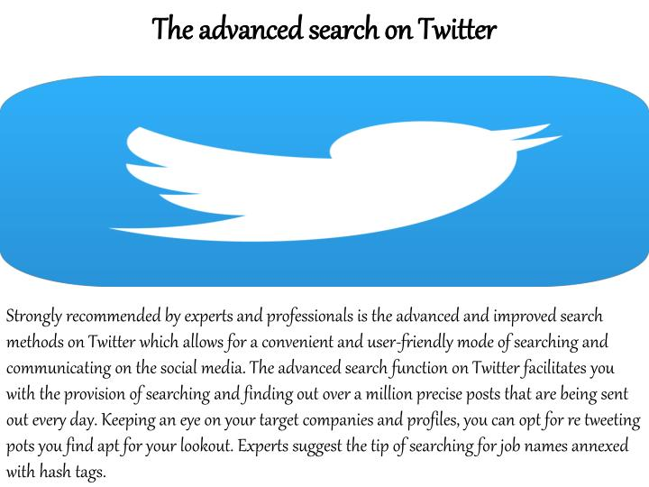 The advanced search on Twitter