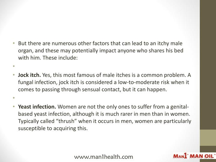 But there are numerous other factors that can lead to an itchy male organ, and these may potentially impact anyone who shares his bed with him. These include: