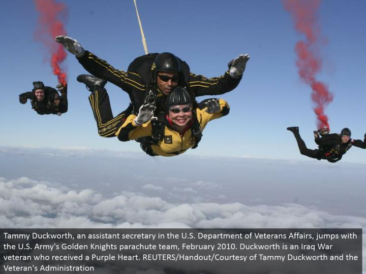 Tammy Duckworth, a partner secretary in the U.S. Bureau of Veterans Affairs, bounced with the U.S. Armed force's Golden Knights parachute group, February 2010. Duckworth is an Iraq War veteran who got a Purple Heart. REUTERS/Handout/Courtesy of Tammy Duckworth and the Veteran's Administration