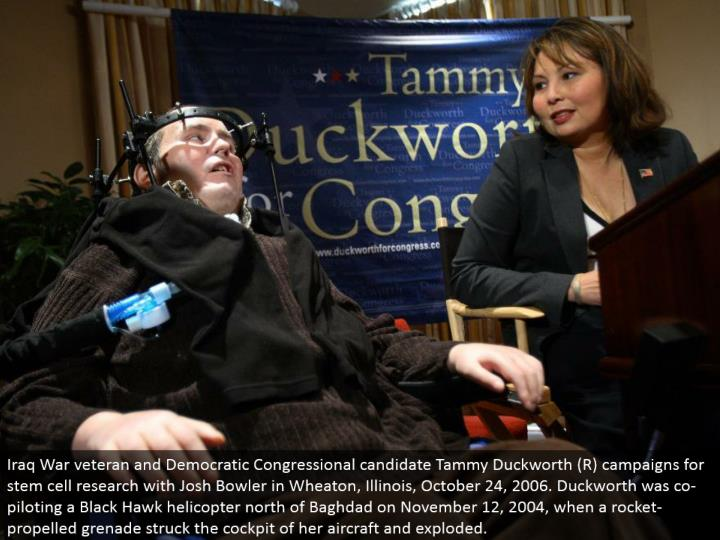 Iraq War veteran and Democratic Congressional hopeful Tammy Duckworth (R) battles for undifferentiated cell inquire about with Josh Bowler in Wheaton, Illinois, October 24, 2006. Duckworth was co-guiding a Black Hawk helicopter north of Baghdad on November 12, 2004, when a rocket-pushed projectile struck the cockpit of her flying machine and exploded.