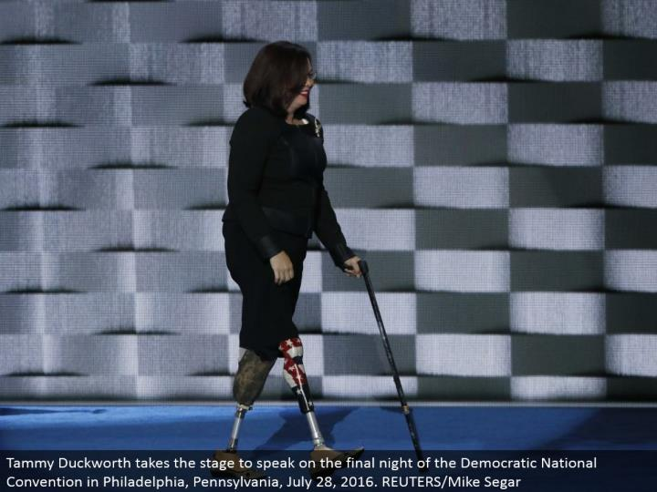 Tammy Duckworth makes that big appearance to talk on the last night of the Democratic National Convention in Philadelphia, Pennsylvania, July 28, 2016. REUTERS/Mike Segar