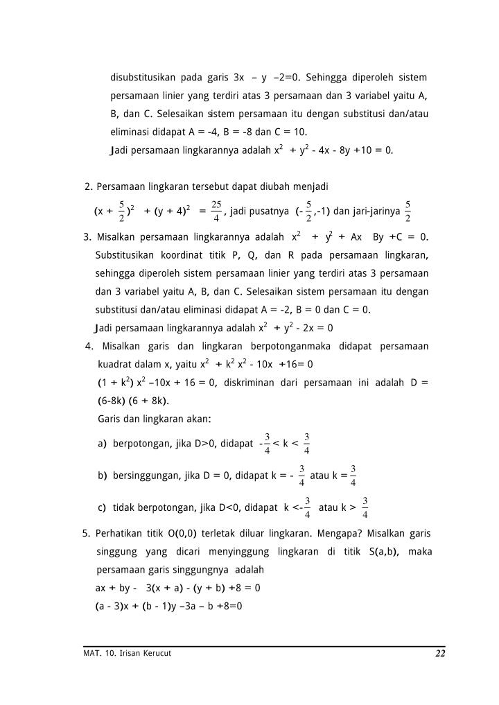 disubstitusikan pada garis 3x – y –2=0. Sehingga diperoleh sistem