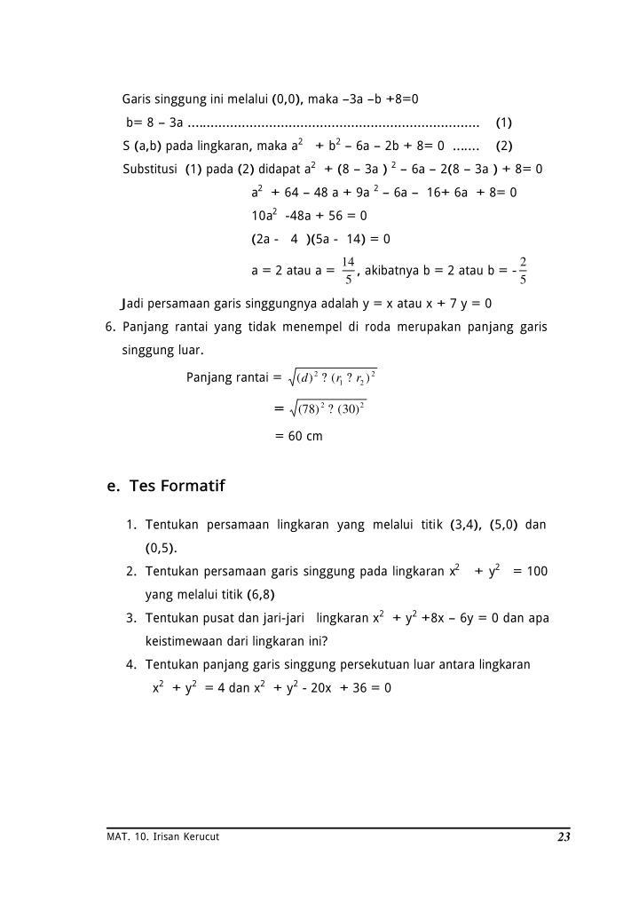 Garis singgung ini melalui (0,0), maka –3a –b +8=0