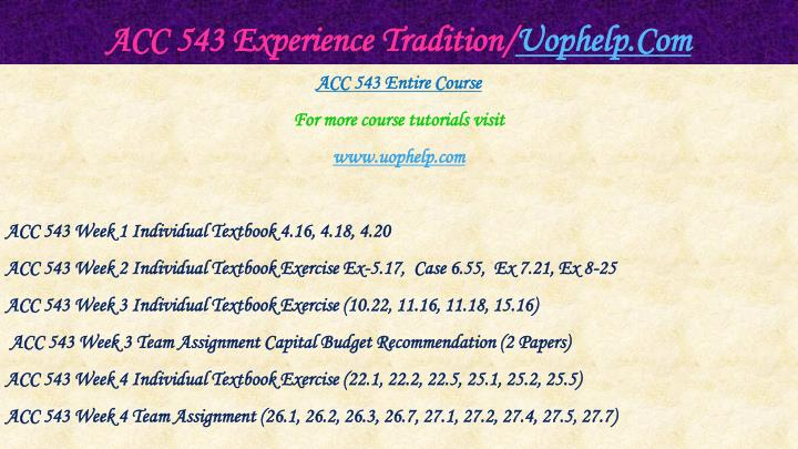 Acc 543 experience tradition uophelp com1