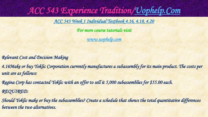 ACC 543 Experience Tradition/