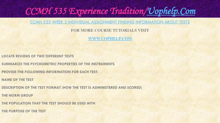 Ccmh 535 experience tradition uophelp com1