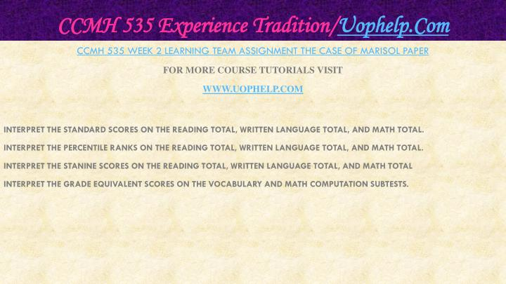 Ccmh 535 experience tradition uophelp com2