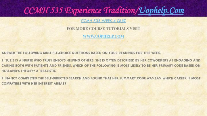 CCMH 535 Experience Tradition/