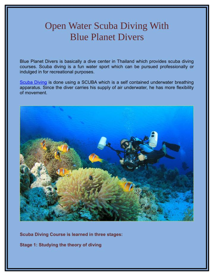 Open Water Scuba Diving With